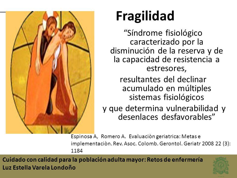 Cuidado con calidad para la población adulta mayor: Retos de enfermería Luz Estella Varela Londoño Fragilidad Síndrome fisiológico caracterizado por l