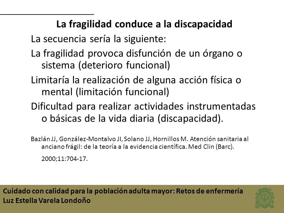 Cuidado con calidad para la población adulta mayor: Retos de enfermería Luz Estella Varela Londoño La fragilidad conduce a la discapacidad La secuenci