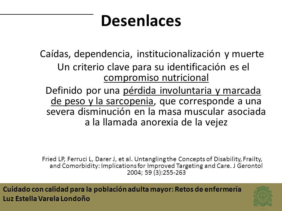 Cuidado con calidad para la población adulta mayor: Retos de enfermería Luz Estella Varela Londoño Desenlaces Caídas, dependencia, institucionalizació