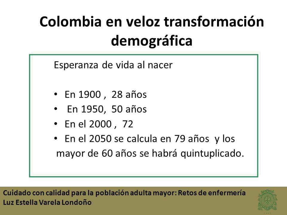 Colombia en veloz transformación demográfica Esperanza de vida al nacer En 1900, 28 años En 1950, 50 años En el 2000, 72 En el 2050 se calcula en 79 a