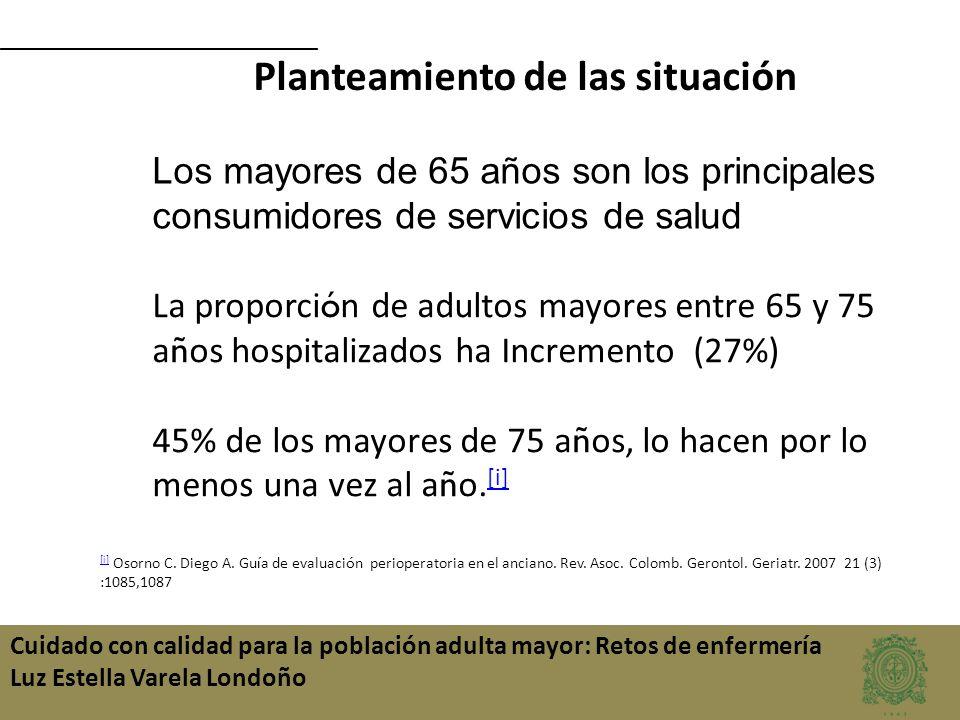 Cuidado con calidad para la población adulta mayor: Retos de enfermería Luz Estella Varela Londoño Los mayores de 65 años son los principales consumid