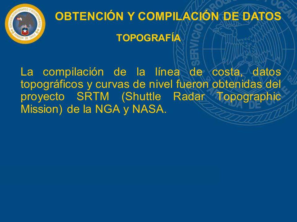 TOPOGRAFÍA La compilación de la línea de costa, datos topográficos y curvas de nivel fueron obtenidas del proyecto SRTM (Shuttle Radar Topographic Mis