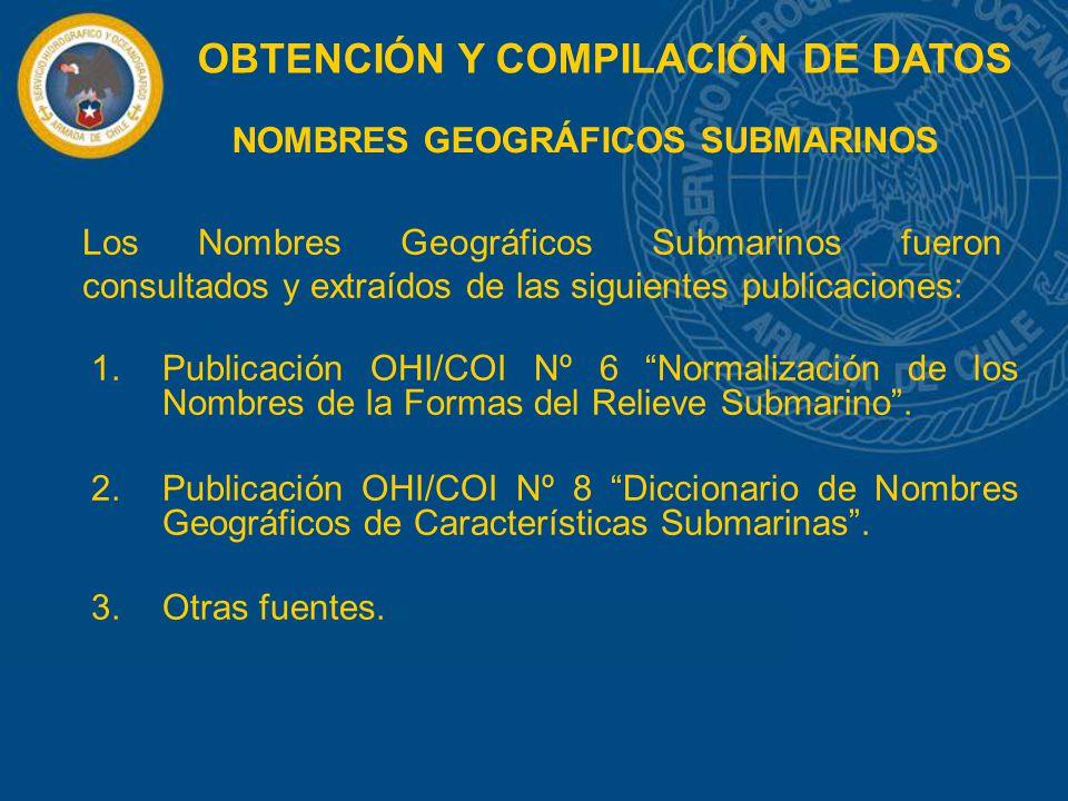 NOMBRES GEOGRÁFICOS SUBMARINOS 1.Publicación OHI/COI Nº 6 Normalización de los Nombres de la Formas del Relieve Submarino. 2.Publicación OHI/COI Nº 8