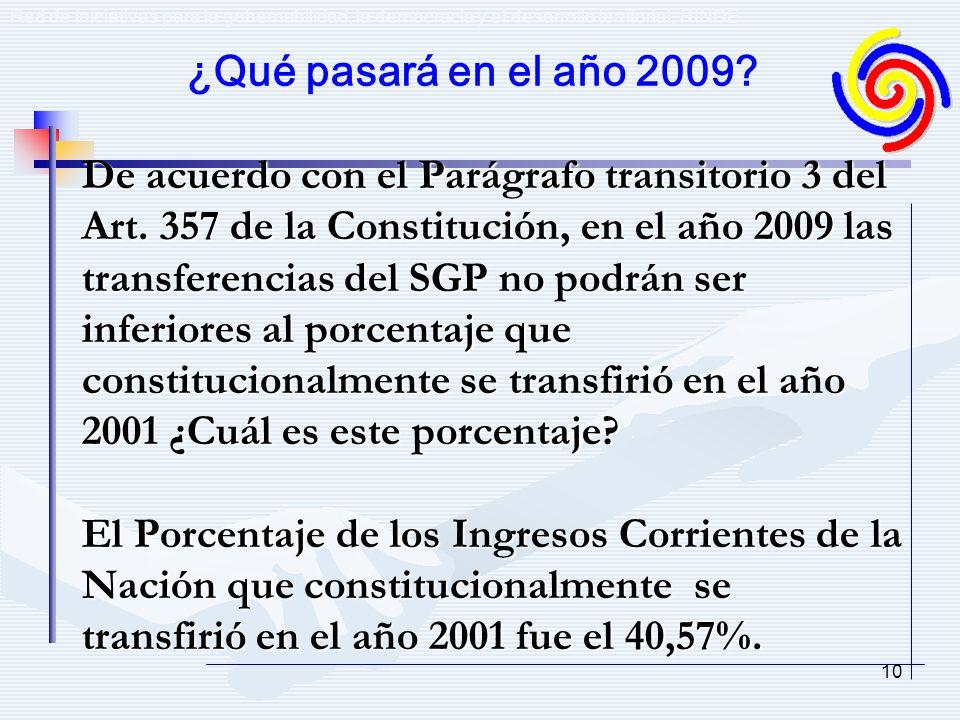10 De acuerdo con el Parágrafo transitorio 3 del Art. 357 de la Constitución, en el año 2009 las transferencias del SGP no podrán ser inferiores al po