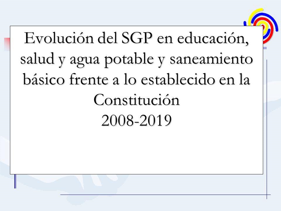 Evolución del SGP en educación, salud y agua potable y saneamiento básico frente a lo establecido en la Constitución 2008-2019