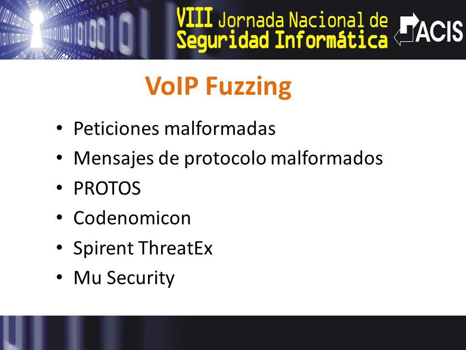 VoIP Fuzzing Peticiones malformadas Mensajes de protocolo malformados PROTOS Codenomicon Spirent ThreatEx Mu Security