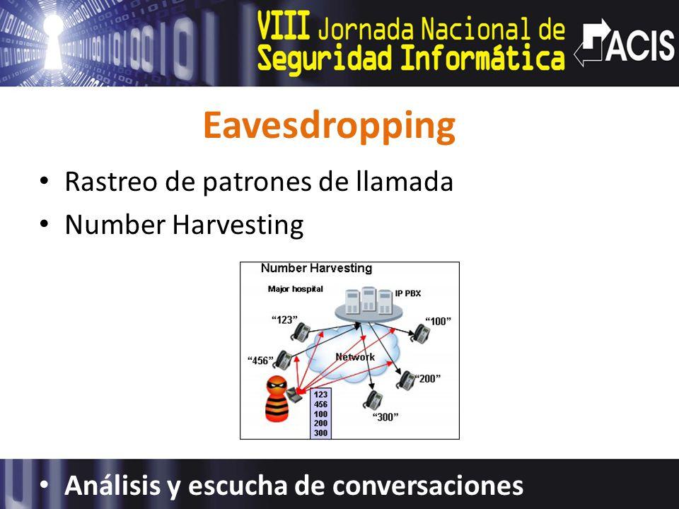 Eavesdropping Rastreo de patrones de llamada Number Harvesting Análisis y escucha de conversaciones