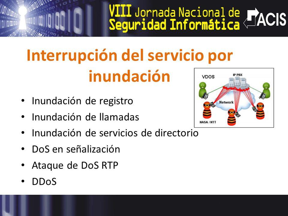 Interrupción del servicio por inundación Inundación de registro Inundación de llamadas Inundación de servicios de directorio DoS en señalización Ataque de DoS RTP DDoS
