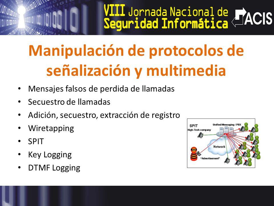 Manipulación de protocolos de señalización y multimedia Mensajes falsos de perdida de llamadas Secuestro de llamadas Adición, secuestro, extracción de registro Wiretapping SPIT Key Logging DTMF Logging