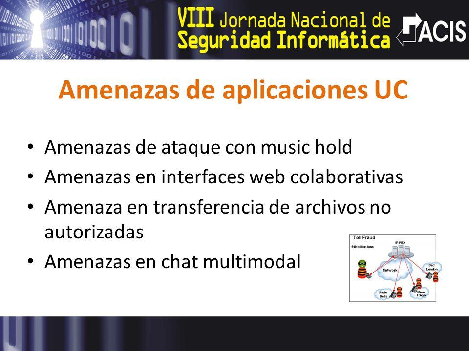 Amenazas de aplicaciones UC Amenazas de ataque con music hold Amenazas en interfaces web colaborativas Amenaza en transferencia de archivos no autorizadas Amenazas en chat multimodal