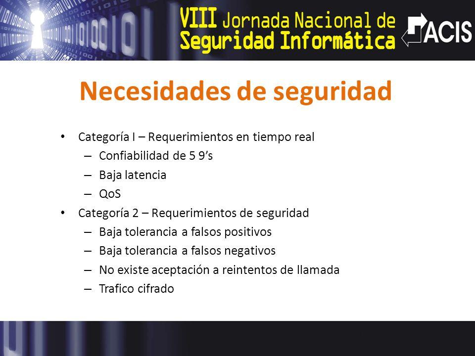 Necesidades de seguridad Categoría I – Requerimientos en tiempo real – Confiabilidad de 5 9s – Baja latencia – QoS Categoría 2 – Requerimientos de seg