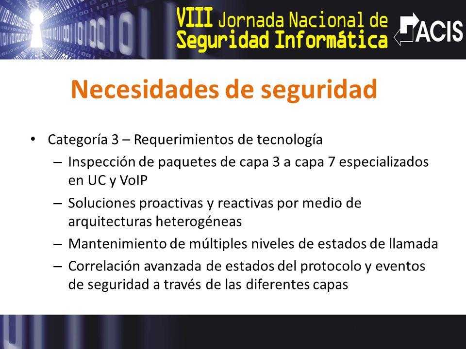 Necesidades de seguridad Categoría 3 – Requerimientos de tecnología – Inspección de paquetes de capa 3 a capa 7 especializados en UC y VoIP – Solucion