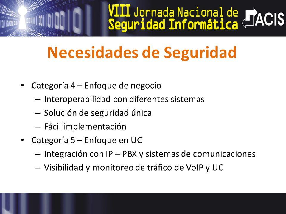 Necesidades de Seguridad Categoría 4 – Enfoque de negocio – Interoperabilidad con diferentes sistemas – Solución de seguridad única – Fácil implementa