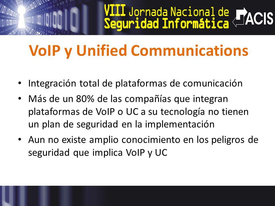 VoIP y Unified Communications Integración total de plataformas de comunicación Más de un 80% de las compañías que integran plataformas de VoIP o UC a su tecnología no tienen un plan de seguridad en la implementación Aun no existe amplio conocimiento en los peligros de seguridad que implica VoIP y UC