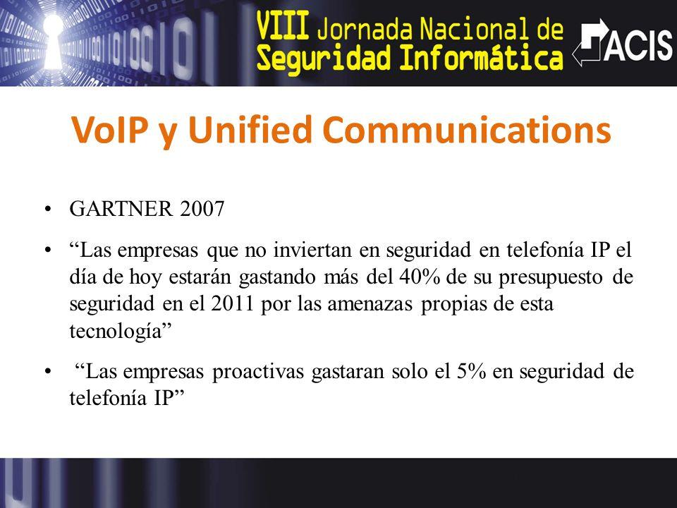 VoIP y Unified Communications GARTNER 2007 Las empresas que no inviertan en seguridad en telefonía IP el día de hoy estarán gastando más del 40% de su