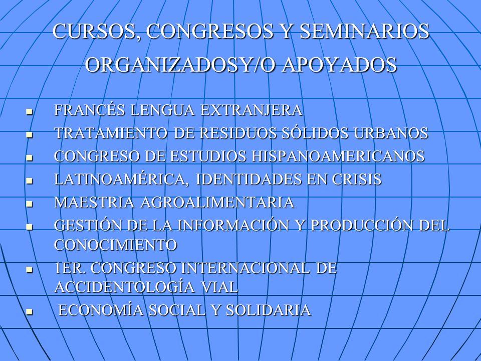 CURSOS, CONGRESOS Y SEMINARIOS ORGANIZADOSY/O APOYADOS FRANCÉS LENGUA EXTRANJERA FRANCÉS LENGUA EXTRANJERA TRATAMIENTO DE RESIDUOS SÓLIDOS URBANOS TRATAMIENTO DE RESIDUOS SÓLIDOS URBANOS CONGRESO DE ESTUDIOS HISPANOAMERICANOS CONGRESO DE ESTUDIOS HISPANOAMERICANOS LATINOAMÉRICA, IDENTIDADES EN CRISIS LATINOAMÉRICA, IDENTIDADES EN CRISIS MAESTRIA AGROALIMENTARIA MAESTRIA AGROALIMENTARIA GESTIÓN DE LA INFORMACIÓN Y PRODUCCIÓN DEL CONOCIMIENTO GESTIÓN DE LA INFORMACIÓN Y PRODUCCIÓN DEL CONOCIMIENTO 1ER.