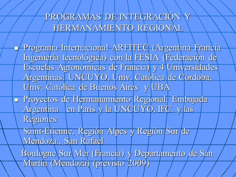 PROGRAMAS DE INTEGRACIÓN Y HERMANAMIENTO REGIONAL Programa Internacional ARFITEC (Argentina Francia Ingeniería tecnológica) con la FESIA (Federación d