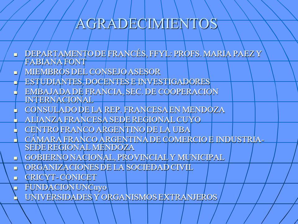 AGRADECIMIENTOS DEPARTAMENTO DE FRANCÉS, FFYL: PROFS. MARIA PAEZ Y FABIANA FONT DEPARTAMENTO DE FRANCÉS, FFYL: PROFS. MARIA PAEZ Y FABIANA FONT MIEMBR