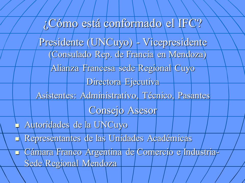 ¿Cómo está conformado el IFC? Presidente (UNCuyo) - Vicepresidente (Consulado Rep. de Francia en Mendoza) Alianza Francesa sede Regional Cuyo Director