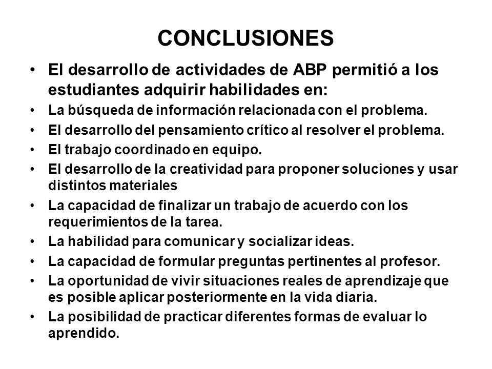 CONCLUSIONES El desarrollo de actividades de ABP permitió a los estudiantes adquirir habilidades en: La búsqueda de información relacionada con el pro