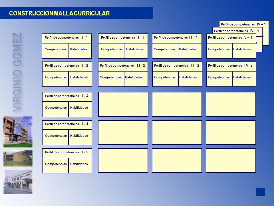 CONSTRUCCION MALLA CURRICULAR Perfil de competencias IV – 1 Competencias Habilidades Perfil de competencias IV – 1 Competencias Habilidades Perfil de