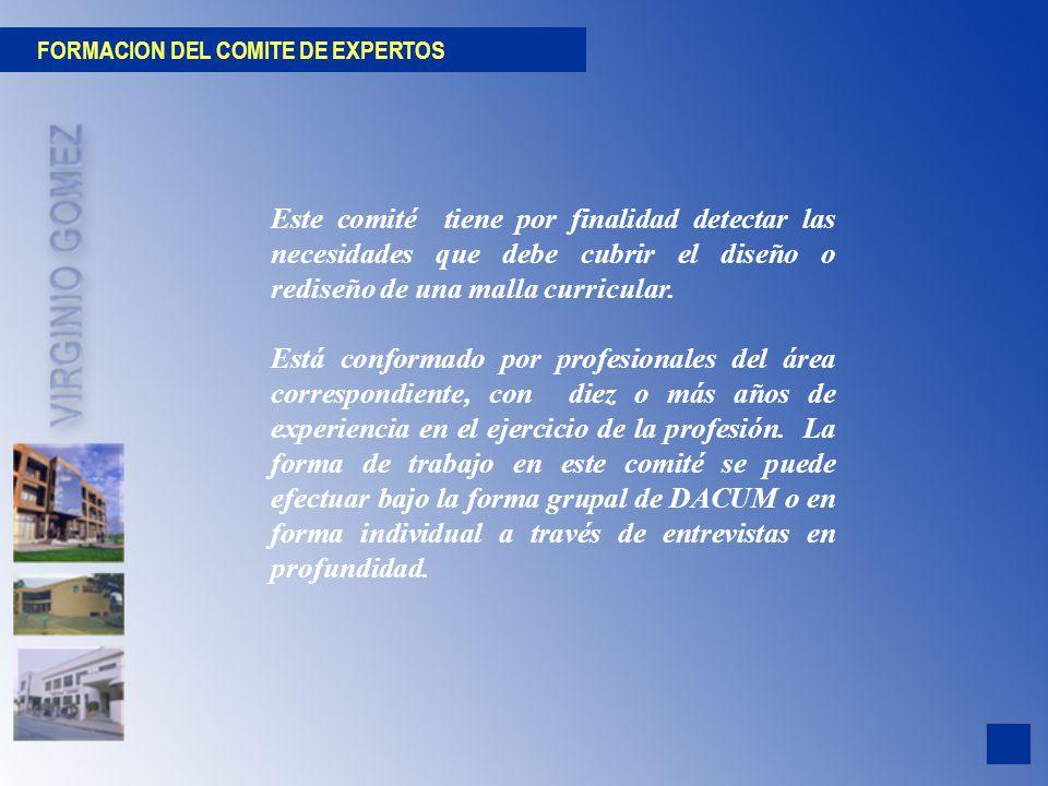 FORMACION DEL COMITE DE EXPERTOS Este comité tiene por finalidad detectar las necesidades que debe cubrir el diseño o rediseño de una malla curricular
