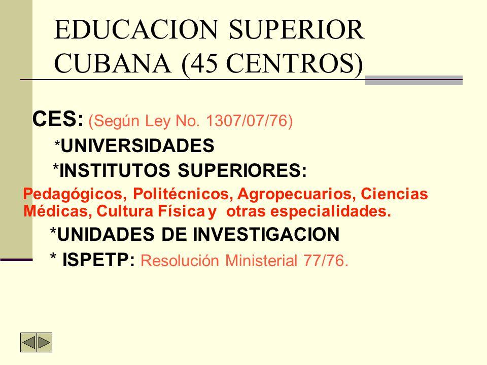 SISTEMA EDUCACIONAL CUBANO EDUCACIÒN PRE - ESCOLAR Y PRIMARIA EDUCA CIÒN SECUN- DARIA BÁSICA EDUCACIÒN PRE UNIVER- SITARIA EDUCACIÓN SUPERIOR EDUCACIÓN TÉCNICA Y PROFESIONAL ISP E d u c a c i ó n d e a d u l t o s