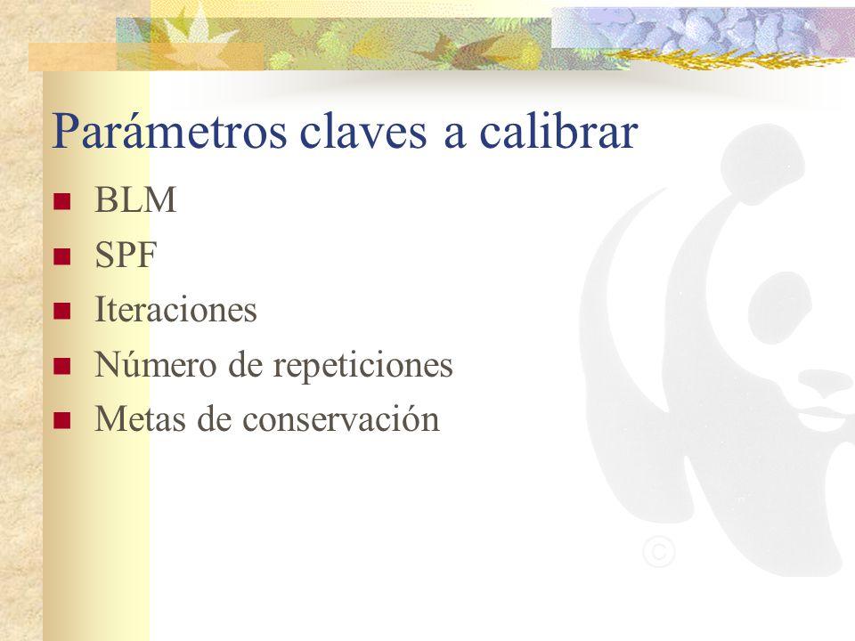Parámetros claves a calibrar BLM SPF Iteraciones Número de repeticiones Metas de conservación