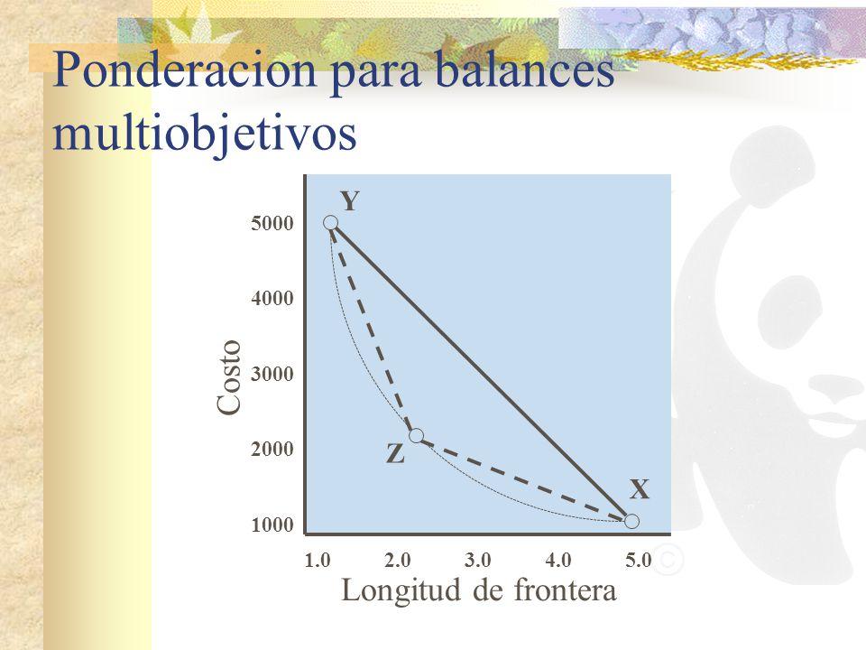 Ponderacion para balances multiobjetivos Longitud de frontera Costo 1.05.0 1000 5000 2000 3000 4000 2.03.04.0 X Y Z