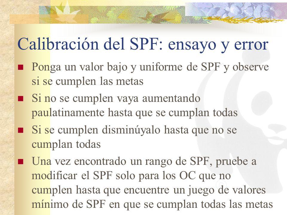 Calibración del SPF: ensayo y error Ponga un valor bajo y uniforme de SPF y observe si se cumplen las metas Si no se cumplen vaya aumentando paulatina