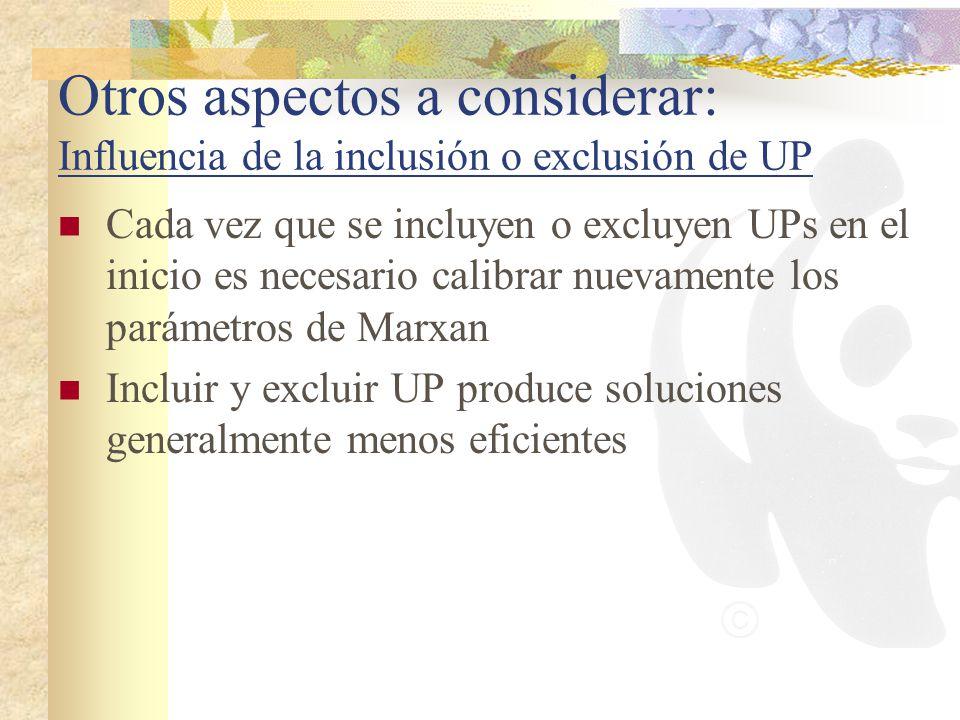 Otros aspectos a considerar: Influencia de la inclusión o exclusión de UP Cada vez que se incluyen o excluyen UPs en el inicio es necesario calibrar n