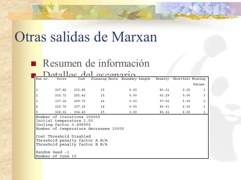 Otras salidas de Marxan Resumen de información Detalles del escenario
