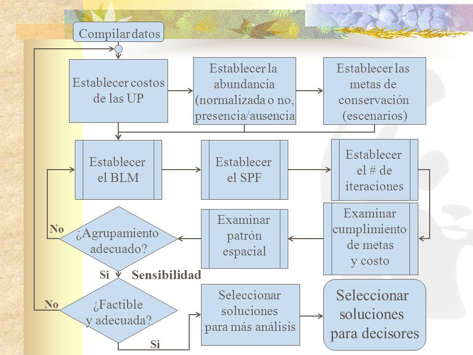 Compilar datos Establecer costos de las UP Establecer las metas de conservación (escenarios) Establecer la abundancia (normalizada o no, presencia/aus