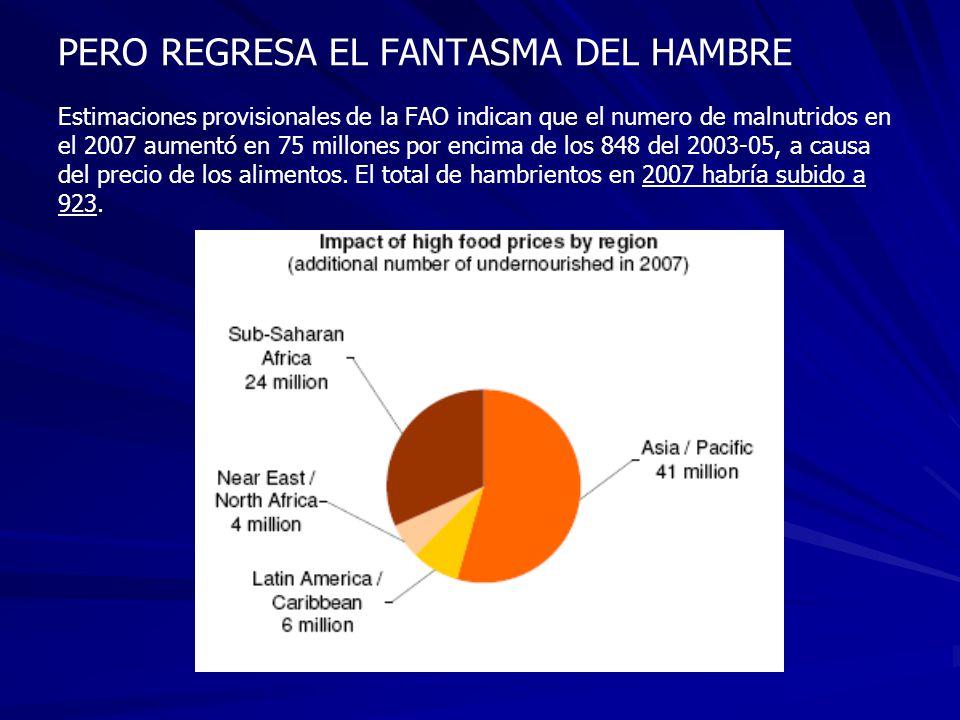 PERO REGRESA EL FANTASMA DEL HAMBRE Estimaciones provisionales de la FAO indican que el numero de malnutridos en el 2007 aumentó en 75 millones por en