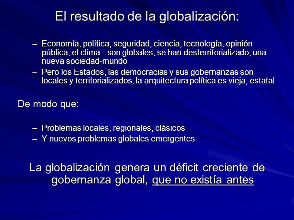 El resultado de la globalización: –Economía, política, seguridad, ciencia, tecnología, opinión pública, el clima...son globales, se han desterritorial