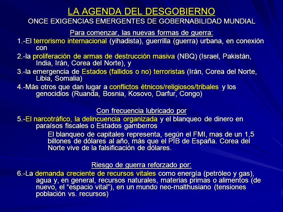 LA AGENDA DEL DESGOBIERNO ONCE EXIGENCIAS EMERGENTES DE GOBERNABILIDAD MUNDIAL Para comenzar, las nuevas formas de guerra: 1.-El terrorismo internacio