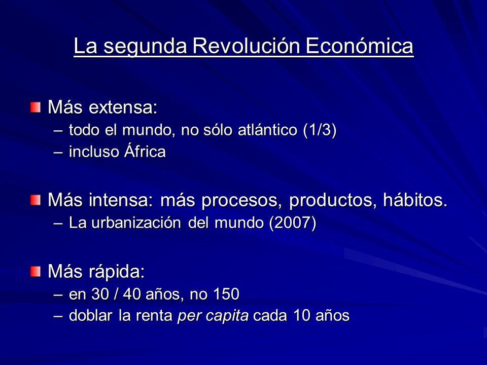 La segunda Revolución Económica Más extensa: –todo el mundo, no sólo atlántico (1/3) –incluso África Más intensa: más procesos, productos, hábitos. –L