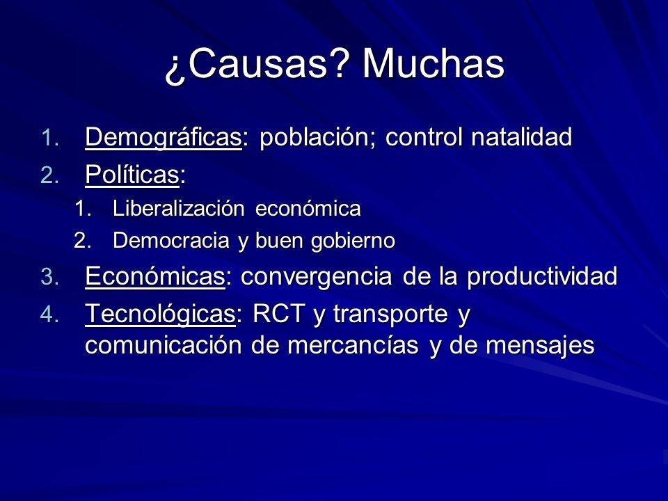 ¿Causas? Muchas 1. Demográficas: población; control natalidad 2. Políticas: 1.Liberalización económica 2.Democracia y buen gobierno 3. Económicas: con