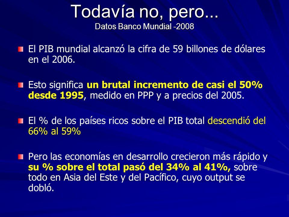 Todavía no, pero... Datos Banco Mundial -2008 El PIB mundial alcanzó la cifra de 59 billones de dólares en el 2006. Esto significa un brutal increment