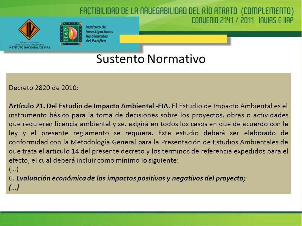 Sustento Normativo Decreto 2820 de 2010: Artículo 21. Del Estudio de Impacto Ambiental -EIA. El Estudio de Impacto Ambiental es el instrumento básico