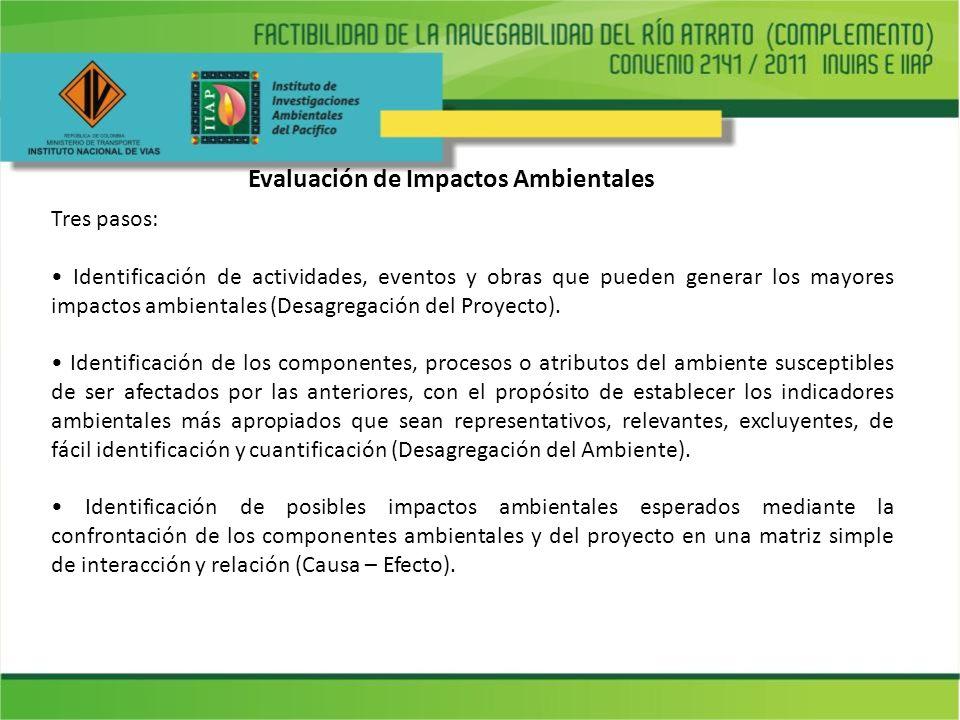 Tres pasos: Identificación de actividades, eventos y obras que pueden generar los mayores impactos ambientales (Desagregación del Proyecto). Identific