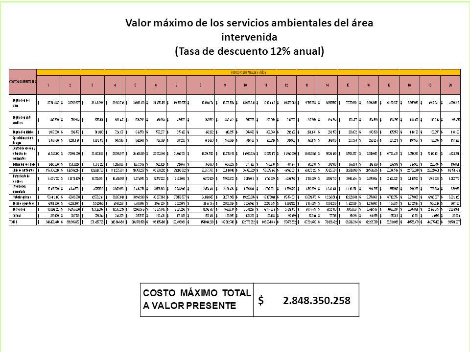 Valor máximo de los servicios ambientales del área intervenida (Tasa de descuento 12% anual) COSTO MÁXIMO TOTAL A VALOR PRESENTE $ 2.848.350.258