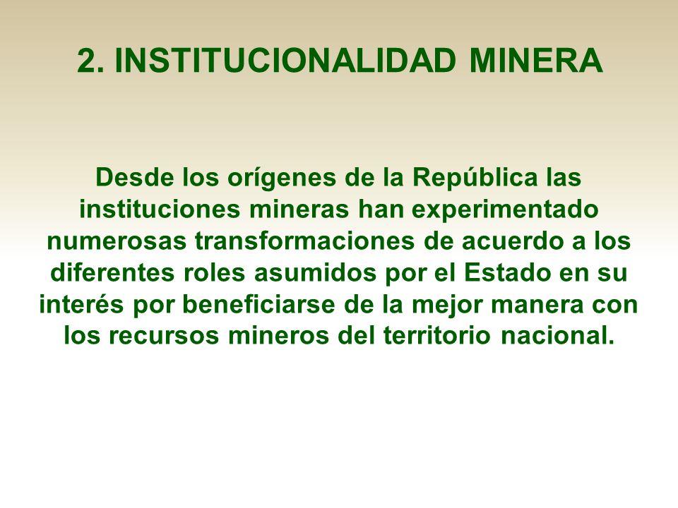 2. INSTITUCIONALIDAD MINERA Desde los orígenes de la República las instituciones mineras han experimentado numerosas transformaciones de acuerdo a los