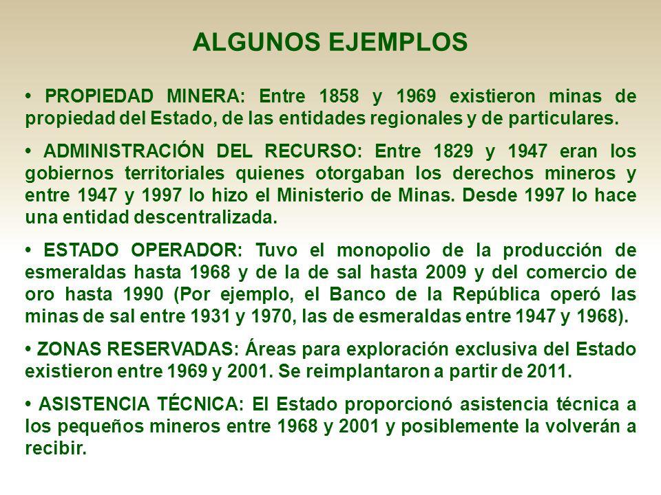 PROPIEDAD MINERA: Entre 1858 y 1969 existieron minas de propiedad del Estado, de las entidades regionales y de particulares. ADMINISTRACIÓN DEL RECURS