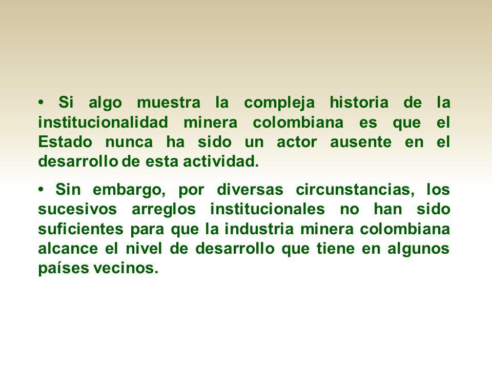 Si algo muestra la compleja historia de la institucionalidad minera colombiana es que el Estado nunca ha sido un actor ausente en el desarrollo de est