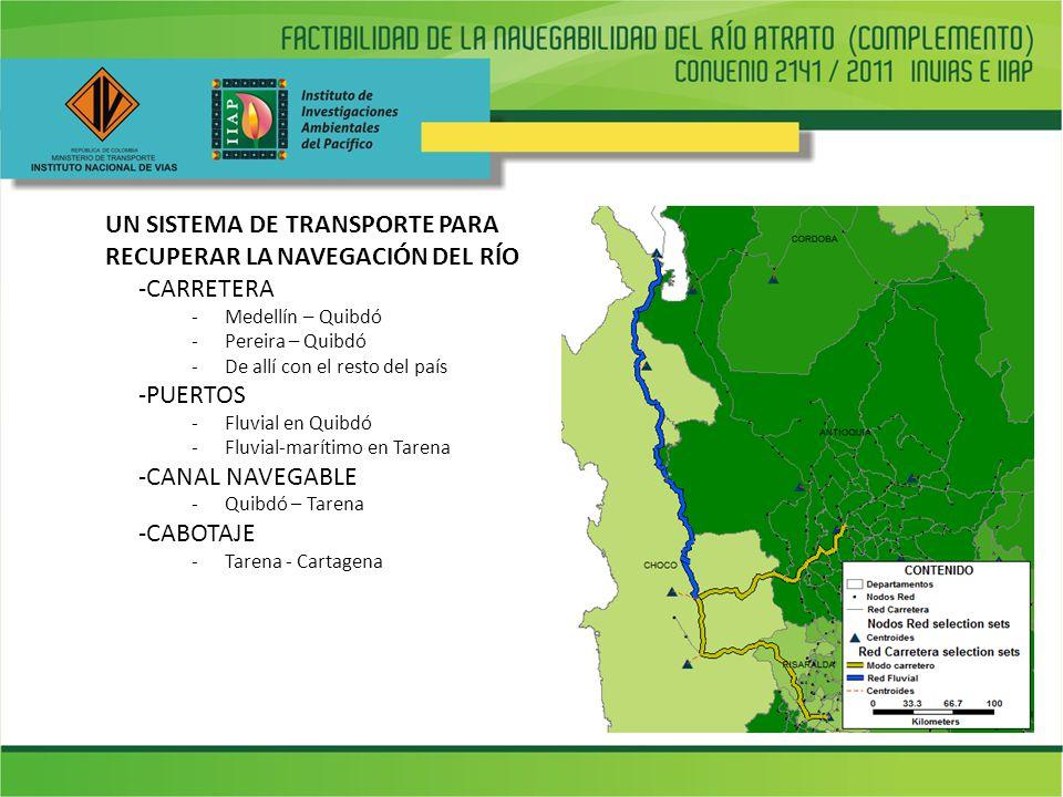 UN SISTEMA DE TRANSPORTE PARA RECUPERAR LA NAVEGACIÓN DEL RÍO -CARRETERA -Medellín – Quibdó -Pereira – Quibdó -De allí con el resto del país -PUERTOS -Fluvial en Quibdó -Fluvial-marítimo en Tarena -CANAL NAVEGABLE -Quibdó – Tarena -CABOTAJE -Tarena - Cartagena