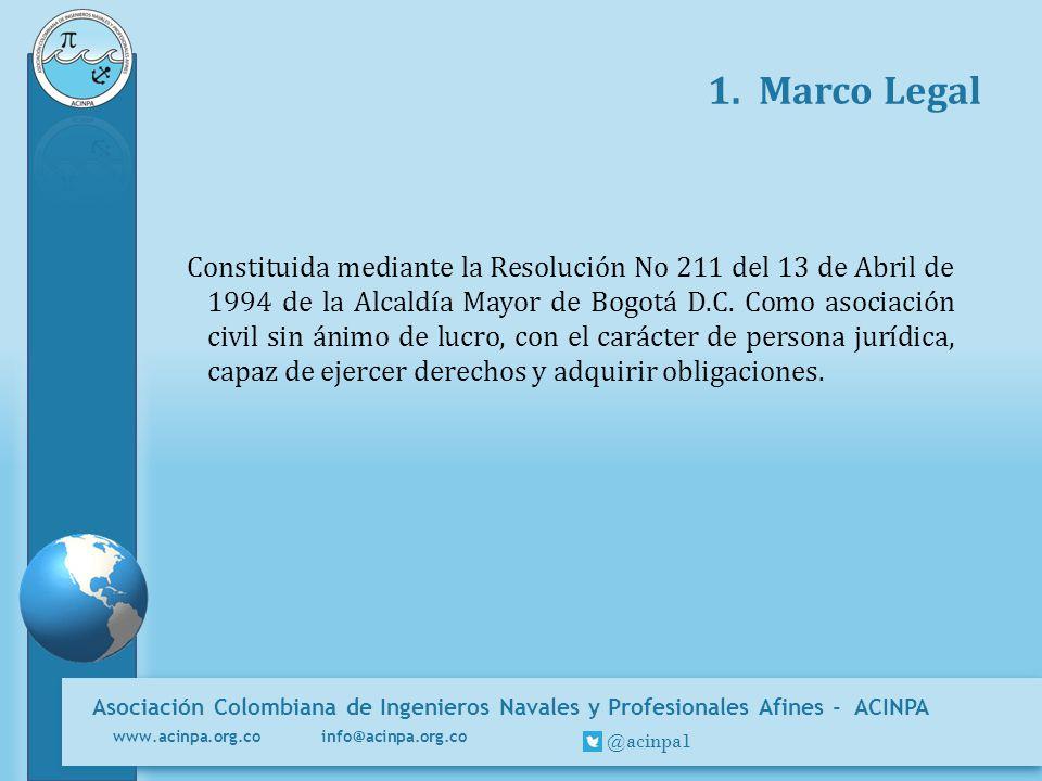 Asociación Colombiana de Ingenieros Navales y Profesionales Afines - ACINPA www.acinpa.org.co info@acinpa.org.co @acinpa1 1. Marco Legal Constituida m