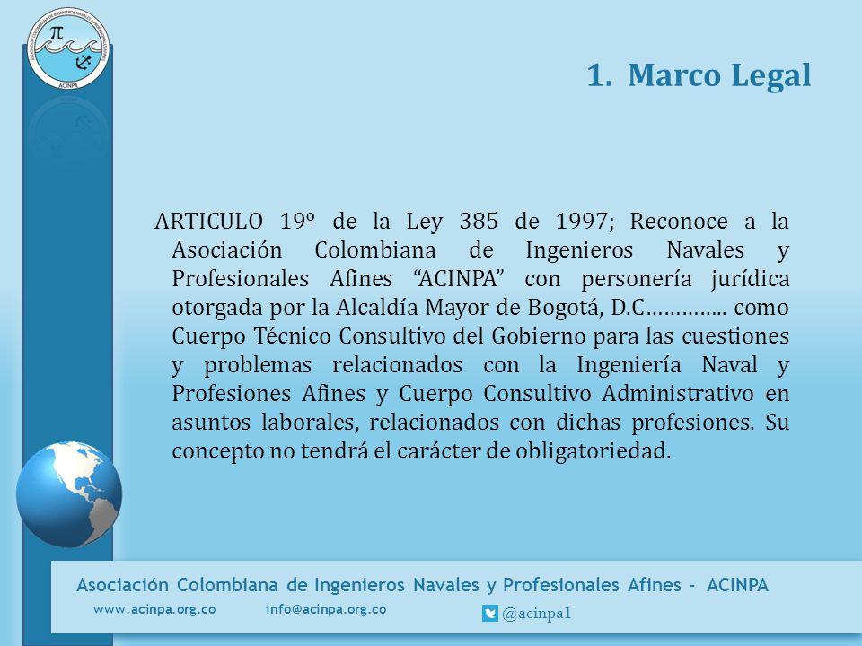 Asociación Colombiana de Ingenieros Navales y Profesionales Afines - ACINPA www.acinpa.org.co info@acinpa.org.co @acinpa1 1. Marco Legal ARTICULO 19º