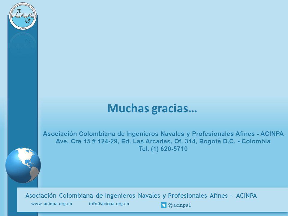 Asociación Colombiana de Ingenieros Navales y Profesionales Afines - ACINPA www.acinpa.org.co info@acinpa.org.co @acinpa1 Muchas gracias… Asociación C