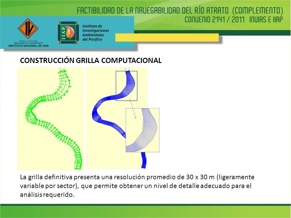 CONSTRUCCIÓN GRILLA COMPUTACIONAL La grilla definitiva presenta una resolución promedio de 30 x 30 m (ligeramente variable por sector), que permite ob